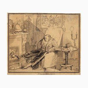 Sleeping Man - Original Etching + Pencil Drawing - Late 19th Century Late 19th Century