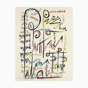 Letter P - Original Hand-Colored Lithograph by Raphael Alberti - 1972 1972