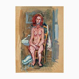 Nackte Frau - Original Tempera und Aquarell von Primo Zeglio - 1930er Jahre