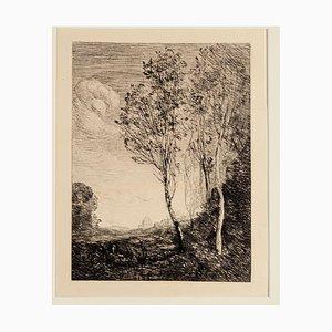 Landscape - Original Radierung von Camille Corot - spätes 19. Jahrhundert spätes 19. Jahrhundert