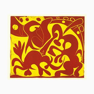 La Pique en Rouge et Jaune - Original Linocut After Pablo Picasso - 1962 1962