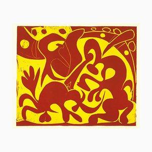 La Pique en Rouge et Jaune - Original Linolschnitt nach Pablo Picasso - 1962 1962