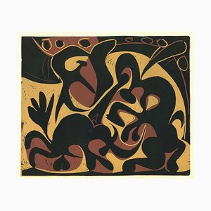 La Pique en Noir et Beige - Original Linolschnitt nach Pablo Picasso - 1962 1962