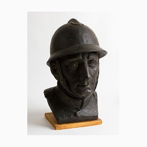 Portrait of a Soldier of the 1st World War - Bronze Sculpture - Early 1900 Early 1900