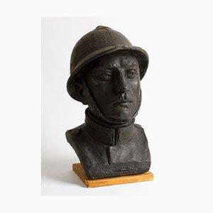 Porträt eines Soldaten des 1. Weltkrieges - Bronze Skulptur - Früh 1900 Früh 1900