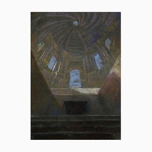 Interior of Church - Pastel Drawing by E. Barberis - Mid 20th Century Mid 20th Century