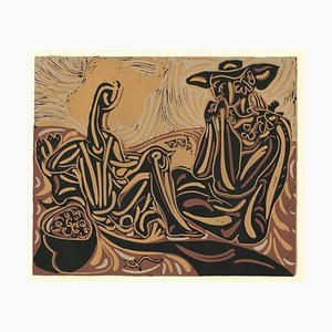 Les Vendangeurs - Linocut Reproduction After Pablo Picasso - 1962 1962