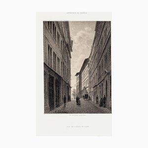 Geneva, Rue De L'Hôtel De Ville - Lithograph by A. Fontanesi - 1854 1854