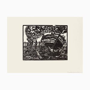 Workers on the Seaside - Original Woodcut by Giuseppe Viviani - 1926 1926