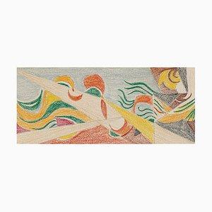 Composition Futuriste - Dessin Pastel - Début 20ème Siècle Début 20ème Siècle