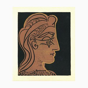 Tete de Femme - Reproduction Linocut après Pablo Picasso - 1962 1962