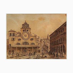 Paysage de Venise - Encre et Aquarelle Originales - 18ème Siècle 18ème Siècle