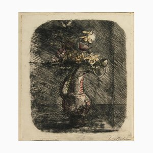 Anemones - Original Etching by Luigi Bartolini - Mid 20th Century Mid 20th Century