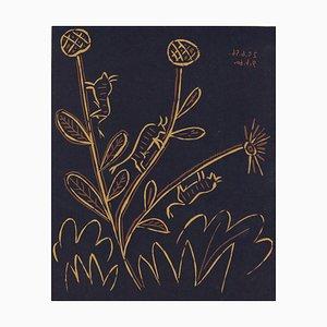 Plante aux Toritos - Reproduction de Linogravure d'Après Pablo Picasso - 1962 1962