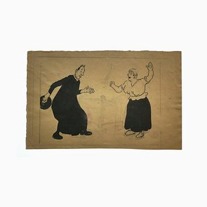 The Priest and the Housewife - Pencil Drawing by G. Galantara - 20th Century Early 20th Century