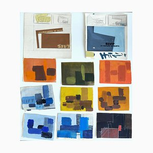 Abstract Compositions - Original Temperas by A. Matheos - Mid 20th Century Mid 20th Century