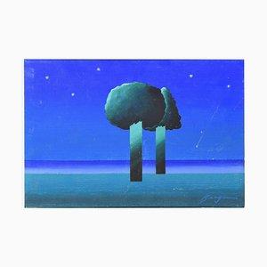 Night Landscape - Original Mixed Media by Danilo Bergamo - 1970s 1970s