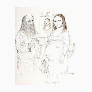 Gioconda's Mystery - Original Drawing by B. Caruso- 1970s 1970s