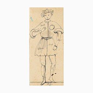 Theatrical Costume - Original China Tuschezeichnung von E. Berman - 1950er 1950er