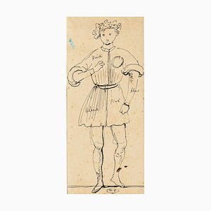 Thetrical Costume - Original China Ink Drawing by E. Berman - 1950s 1950s