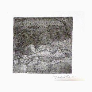 Women Sleeping - Original Etching by Luigi Bartolini - 1940 1940