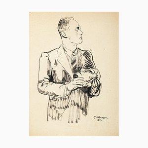 La Masque - Dessin Original Pen par Yves Brayer - 1943 1943
