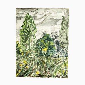 Paisaje verde - Acuarela original de Jean Chapin - años 20 1920