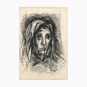 Dibujo Portrait - Original Carboncillo de Serge Fotinsky - 1943 1943