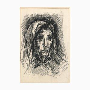 Portrait - Dessin Original Charbon par Serge Fotinsky - 1943 1943
