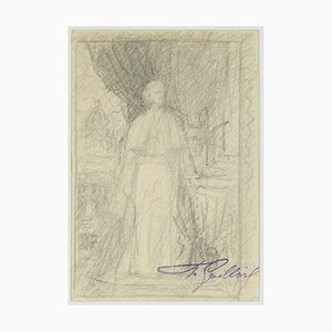 Portrait of Pope in Saint Peter - Original Pencil Drawing by F. Gaillard Late 19th Century