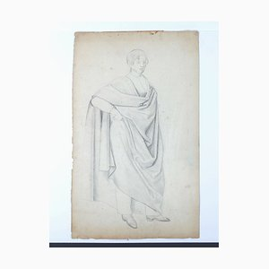 Man with Cloak - Original Pencil Drawing by H. Goldschmidt - Late 19th Century Late 19th Century