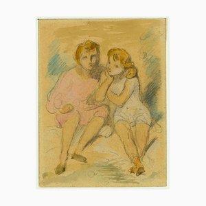 Sitting Children - Matita e acquarello di A. Devéria -Mid 19th Century Mid 19th Century