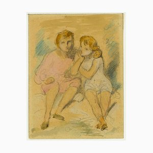 Sitting Children - Pencil and Watercolor Drawing by A. Devéria -Mid 19th Century Mid 19th Century