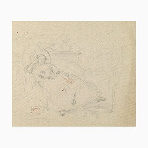 Lying Woman - China Charcoal Drawing by A.-F. Cals - Late 19th Century Late 19th Century