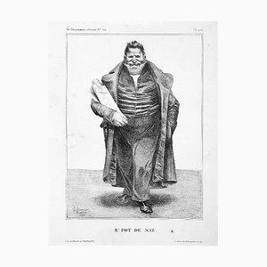 M. Pot de Naz - Originale Lithographie von Honoré Daumier - 1833 1833