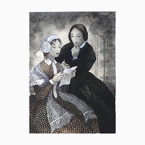The Letter - OriginalChina Tinte und Aquarell Zeichnung von E. Klepper - 1950er 1950er