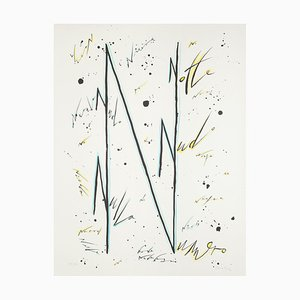 Letter N Blue - Original Hand-Colored Lithograph by Raphael Alberti - 1972 1972