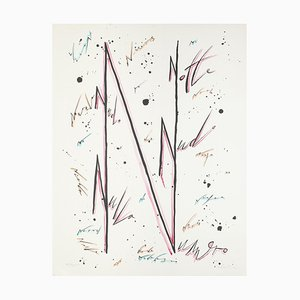 Letter N Violet - Hand-Colored Lithograph by Raphael Alberti - 1972 1972