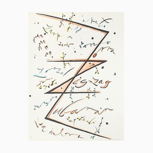 Letter Z Orange - Hand-Colored Lithograph by Raphael Alberti - 1972 1972