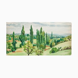 French Landscape - Original Watercolor by P. Deuax - Mid 20th Century Mid 20th Century
