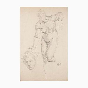 Akt - Original Bleistiftzeichnung auf Papier von Paul Garin - 1950er 1950er
