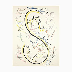 Buchstabe S - Handgefärbte Lithographie von Raphael Alberti - 1972 1972
