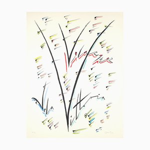 Lithographie Lettre V - Colorée à la Main par Raphael Alberti - 1972 1972