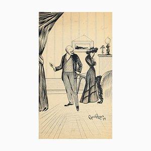 Sadness - Original China Ink and Pastel Drawing - 1901 Mid 20th Century