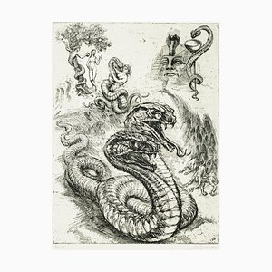 Serpent - Original Etching by M. Chirnoaga - Late 20th Century Late 20th Century