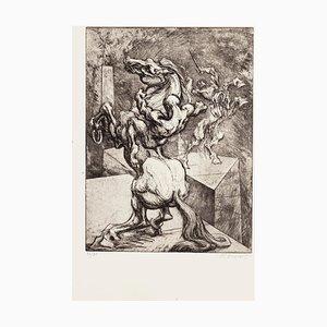 Caballo Mighty - Grabado Original de M. Chirnoaga - Finales del siglo XX Finales del siglo XX