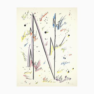 Letter N - Hand-Colored Lithograph by Raphael Alberti - 1972 1972