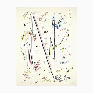 Lithographie Lettre N - Hand-Coloured par Raphael Alberti - 1972 1972