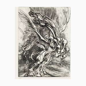 Winged Horse - Original Etching by M. Chirnoaga - Late 20th Century Late 20th Century