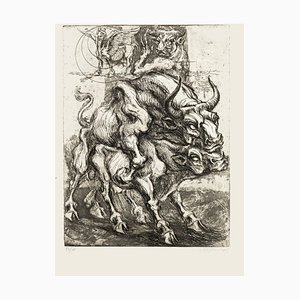 Bulls - Original Etching by M. Chirnoaga - Late 20th Century Late 20th Century